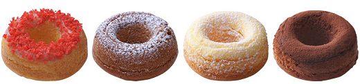 ↑ とろやきドーナツ。左からストロベリー、キャラメル、カスタード、ショコラ