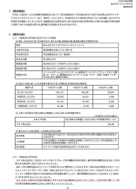 ↑ 関東財務局に提出した臨時報告書