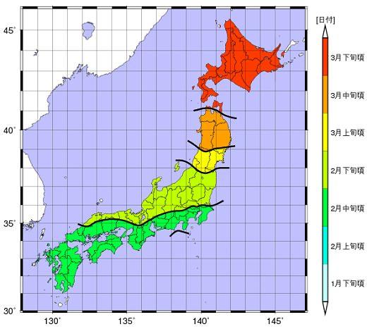 ↑ 2012年スギ花粉前線予測(第2報)