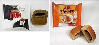 ↑ チロルチョコパン「ミルクチョコ」(左)と「きなこもち」(右)