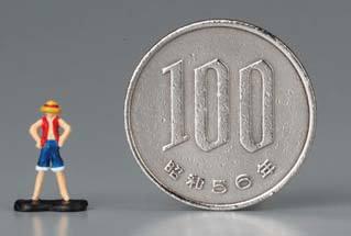↑ ルフィと100円玉