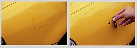 ↑ 愛車に妙なシートが。はがすと……あ、こんなところに傷があったのか