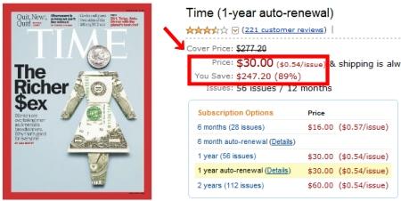 ↑ 米アマゾンでTime紙の1年間定期購読版を確認。