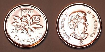 ↑ カナダ1セント硬貨