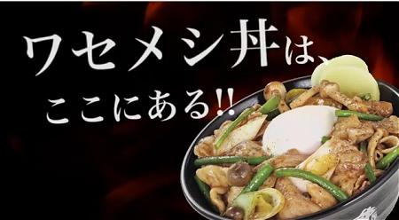 ↑ 映像一例。上の写真の「ワセメシ丼」を展開する早稲田店。