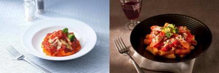 ↑ 生パスタ ベーコンチーズトマトソース(左)とショート生パスタ アラビアータ(右)