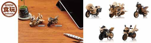 ↑ WOODELIX ライダーマシン。右側の集合写真では、左上から サイクロン号/Vジェット/バトルホッパー/ハードボイルダー/マシンマッシグラー