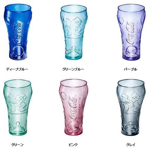 ↑ オリンピック応援Coke Glass(コークグラス)。上段左からディープブルー、グリーンブルー、パープル(6月19日以降)、下段左からグリーン、ピンク、グレイ(7月上旬以降・予定)