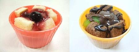 ↑ 『冷たいフォンデュベリー&レアチーズ』(左)と『冷たいフォンデュ 濃厚ショコラ』(右)