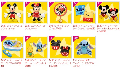 ↑ セガ ラッキーくじ ディズニーキャラクター 2012 Vol.1の賞品