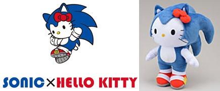 ↑ SONIC×HELLO KITTYのイメージキャラクタ・ロゴとスーパージャンボぬいぐるみ