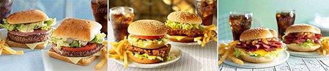 ↑ 今キャンペーンで展開されるハンバーガー群。左からフランス・インド・オーストラリアのご当地メニューを元に開発されたハンバーガー