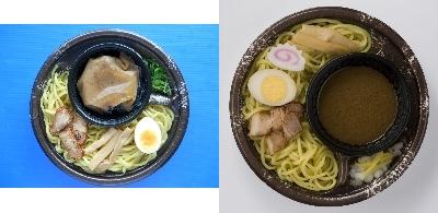 ↑ 左「つけめんShin監修 濃厚魚介豚骨の冷しつけ麺」、右「しゅはり監修 冷しつけ麺」