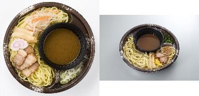 ↑ 左「仙台大勝軒監修 冷し野菜つけ麺」、右「つけめん舎 一輝監修冷し辛つけめん」