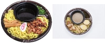 ↑ 左「カドヤ食堂監修 冷しつけ麺」、右「山小屋監修 冷しつけ麺」