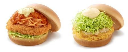 ↑ 左「スパカツバーガー 豚ヒレ肉使用」、右「豚天バーガー 塩糀だれ」