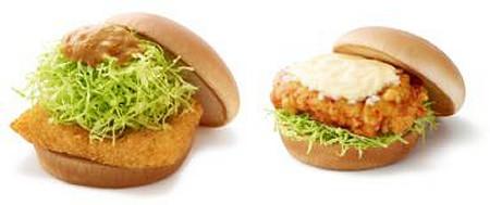 ↑ 左「ザンギバーガー」、右「チキン南蛮バーガー」