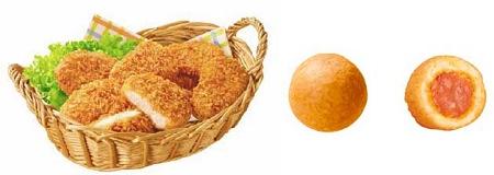 ↑ 商品実品。左は『冷凍 日清 チキンラーメンナゲット』、右は『冷凍 日清 ま-るいアメリカンドッグ』
