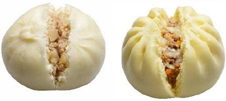 ↑ 塩豚まん(左)と3種類のチーズ肉まん(右)