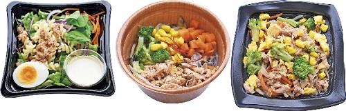 ↑ 左から「ヨーグルト風味のシーチキンマカロニ」「たっぷり野菜とシーチキンのスープ」「シーチキンと彩り野菜炒め」