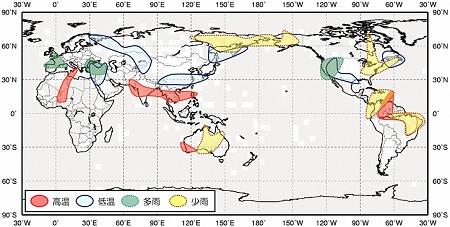 ↑ エルニーニョ現象に伴う6-8月(北半球の夏)の天候の特徴
