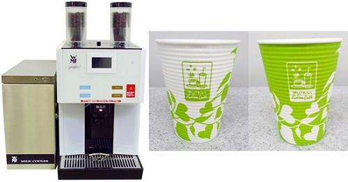↑ 専用コーヒーマシン(左)とカップデザイン(右)(基本。店舗でデザインが異なる場合がある)