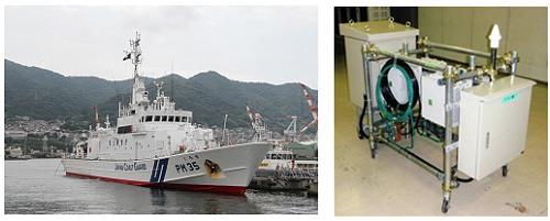 ↑ 巡視船くろせ(左)と携帯電話基地局(実験試験局)(右)