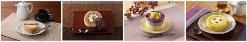 ↑ 左から「カスタードとクラッシュカラメルのロール」「カスタードとクラッシュカラメルのロール」「お芋のケーキ(沖縄県宮古島産ちゅら恋紅使用)」「えびすかぼちゃのロールケーキ」