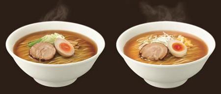 ↑ 展開される日清ラ王袋麺イメージ。左がしょうゆ味、右がみそ味