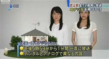 ↑ 「全国一斉地デジ化テスト」放送を伝えるニュース映像(公式)。