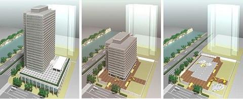 ↑ 鹿島カットアンドダウン工法によるビルの解体概要。地上階で解体作業を実施し、フロアをジャッキダウン