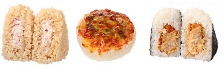 ↑ 左から「コーンビーフマヨおむすび」「ベーコンとチーズのピザ風おむすび」「唐揚げマヨおむすび(チーズ風味マヨ)」