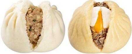 ↑ 驚きのジャンボ肉まん(左)ととろーり月見肉まん(右)