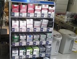 コンビニでのたばこコーナー