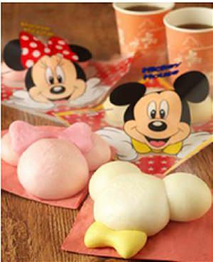 ↑ ミッキーマウスまん(ポーク&てりやきチキン)/(ストロベリー&ミルク)