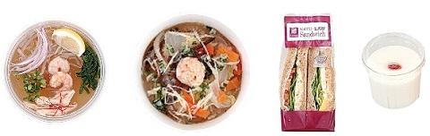 ↑  左から「海老と蒸し鶏のフォー(コラーゲン入)」「野菜と春雨の生姜スープ(コラーゲン入り)」「ハニーマスタードチキンとコブサラダ」「コラーゲン入り杏仁豆腐」