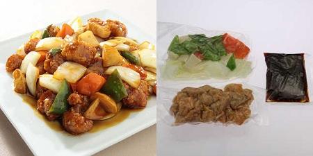 ↑ 「本格10分手料理(食材キット)」一例。「まろやか黒酢の酢豚」798円(3人前/550g)