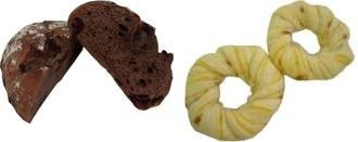 ↑ チョコクランベリー(左)とホワイトリングハムチーズ(右)