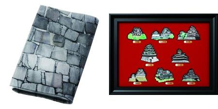 ↑ 大坂城石垣ブックカバー(左)と日本の城オリジナルマグネットコレクション(右)