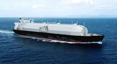 ↑ 次世代型LNG運搬船「さやえんどう」(完成イメージ)