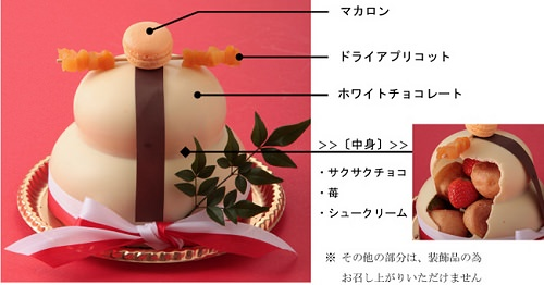 ↑ Sweets(スイーツ)な鏡もちの全容と断面図