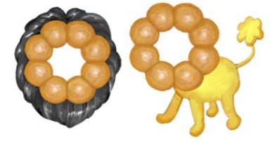 ポン・デ・リングキャラクターの例。中央に、Facebookまたはtwitterに登録しているプロフィール写真がはめ込まれる