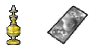 ↑ 経験値の秘薬・小(左)とメタルチケット(右)