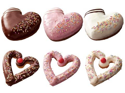 ↑ 上・左からふんわりハート チョコショコラ、ふんわりハート ストロベリーショコラ、ふんわりハート ホワイトショコラ。下・左からハートチュロ チョコ、ハートチュロ ストロベリー、ハートチュロ ホワイト