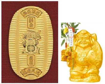 ↑ 純金 戎小判額(小判部分)(左)と純金製戎様(右)