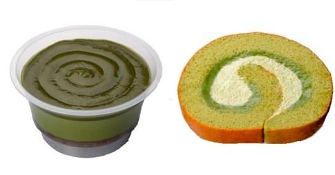 ↑ 濃厚抹茶ソースの抹茶プリン(左)と濃厚抹茶クリームロール(右)