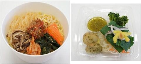 ↑ ユッケジャンラーメン(コラーゲン入)(左)とバジルソースのこんにゃく麺サラダ(右)