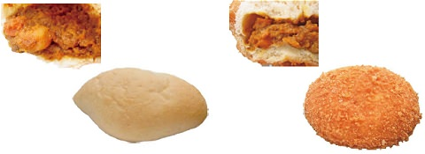 ↑ 焼きチキンカレーパン(左)と揚げビーフカレーパン(右)