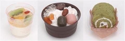 ↑ 左から「ビタミン果実の杏仁豆腐」「抹茶の豆乳プリンパフェ」「和風ロール-抹茶シフォン-」