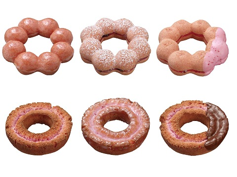 ↑ 上段左からポン・デ・桜、ポン・デ・桜もち、ポン・デ・さくらんぼ。下段左から桜ファッション、桜ファッション ハニー、桜チョコファッション